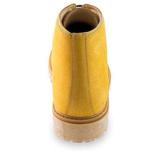 l'Altezza Giallo Fino Rialzo Aumentano Modello a per 7 Masaltos Scarpe Che cm Fabbricate con Bergen Pelle in Uomo xT08wCS