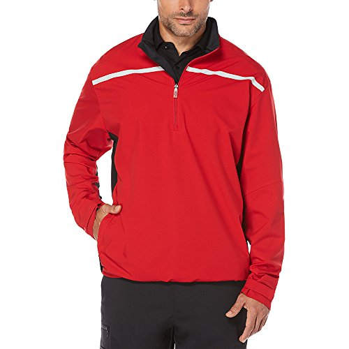 Callaway Men's Opti-Repel Long Sleeve Water Resistant 1/4 Zip Stretch Windshirt, 3X-Large, Tango Red (Short Sleeve Windshirt Zip)
