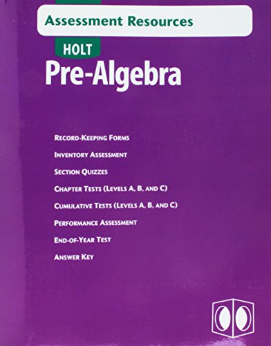 Assessment Resources Pre-Alg 2004