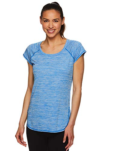HEAD Women's Short Sleeve Workout Scoop Neck T-Shirt - Performance Tennis Crew Neck Activewear Top - Tournament Directoire Blue Heather, Medium (Women Tennis Clothes)
