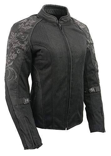 - M Boss Apparel BOS22700 Ladies Black Mesh Jacket with Flower Printing - Medium