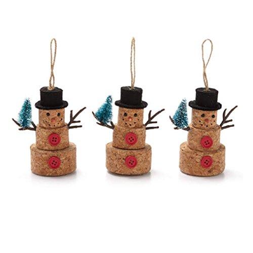 Rustic Cork Snowmen Ornaments ~ 3 pk.