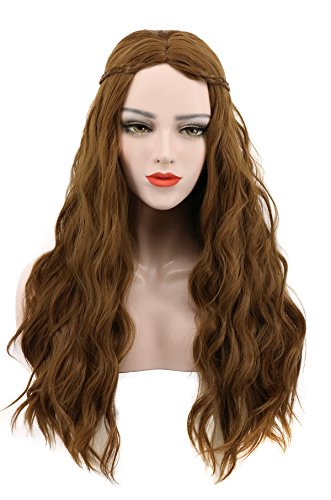 Karlery Women's Long Curly Braided Fake Hair Brown Wig Halloween Cosplay Wig Anime Costume Party -