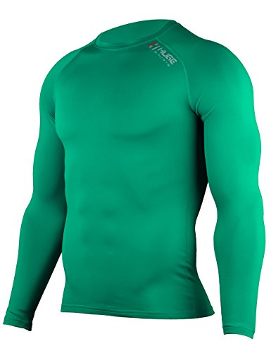 Hugesports Men's Fleece Coldgear Thermal Baselayer Compression Shirt Long Sleeves Emerald XLarge
