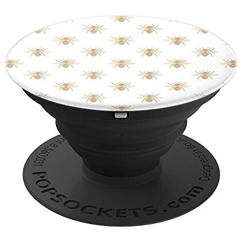 Gold Metallic Faux Foil Photo-Effect Bees on White - PopSockets Grip and Stand for Phones and Tablets
