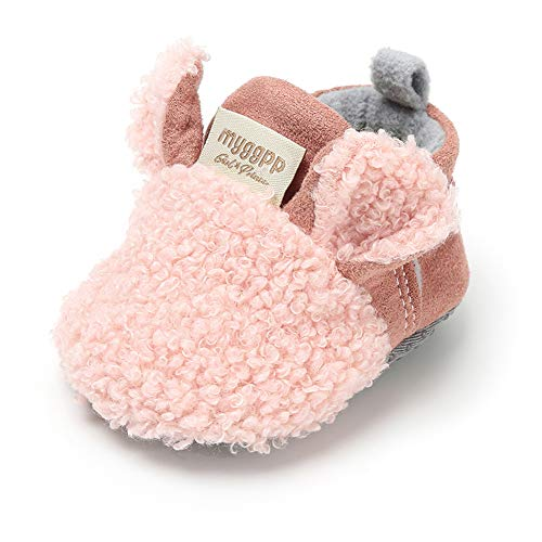 Sawimlgy Baby Boys Girls Adjustable Slippers Cartoon Moccasins Anti-Slip Soft Sole Warm Winter Crib Shoes -