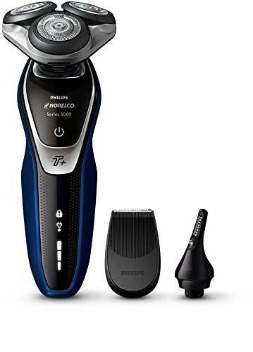 - Philips Norelco Electric Shaver 5570 Wet & Dry, S5572/90, with Turbo+ mode and Nose + Ear Trimmer