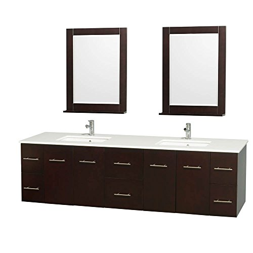 UPC 700161139341, Wyndham Collection Centra 80 inch Double Bathroom Vanity in Espresso, White Man-Made Stone Countertop, Undermount Square Sink, and 24 inch Mirror