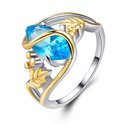 (DONGMING Marquise Created Faux Blue Topaz Filled Leaf Ring for Women Wedding Engagement Ring Band Anniversary Gift,Sea Blue,7)