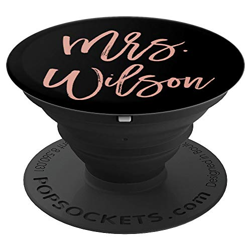 Mrs Wilson Personalized Blush Pink and Black Bride Gift - PopSockets Grip and Stand for Phones and Tablets