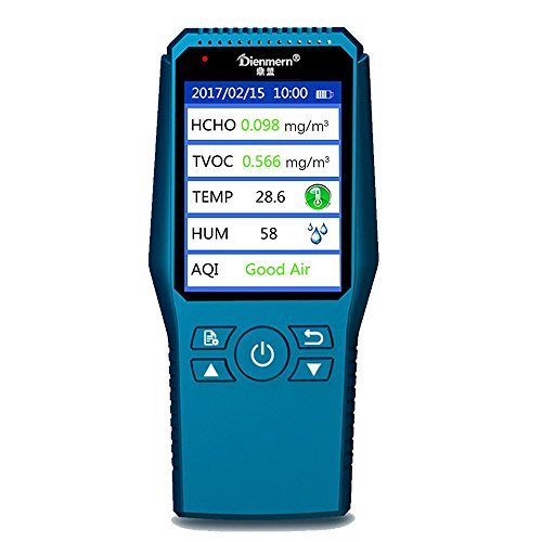 Umootek Indoor Air Quality Detector Accurate Testing Formaldehyde PM2.5/PM10 Monitor Laser Smog Table Meter TVOC Tester Temperature and humidity detector (blue) by Umootek