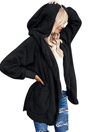 LookbookStore Women's Oversized Open Front Hooded Draped Pocket Cardigan Coat Black Size XL (Fit US 16 - US 18) -