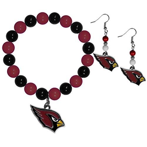 NFL Arizona Cardinals Fan Bead Earrings & Bracelet Set