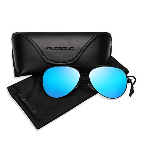 Polarized Blue Aviator Sunglasses for Women, Men Black Shades with UV Protection (Shades Aviator Polarized)
