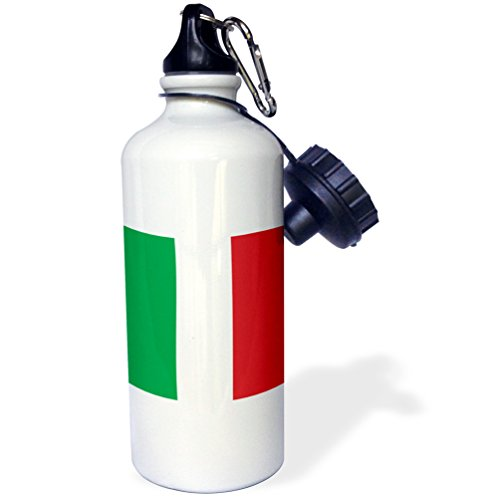 3dRose wb_158341_1 Flag of Italy Square Italian Green White Red Vertical Stripes European Europe World Travel Souvenir Sports Water Bottle, 21 oz, White