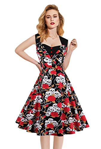 Killreal Women's Classic Sleeveless Halloween Skull Rose Print Casual Rockabilly Steampunk Party Dress Red Medium (Skull Dress For Women)