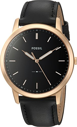 Fossil Men's The The Minimalist 3H Stainless Steel Quartz Watch with Leather Calfskin Strap, Black, 22 (Model: FS5376