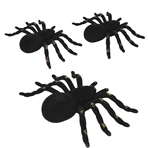 Regent Set of 3 Halloween Spiders Flocked with Glitter Trim Legs (Assorted)