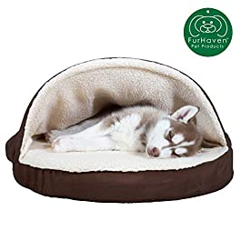 Furhaven Pet Dog Bed | Therapeutic Round Cuddle Nest Snuggery Burrow Blanket Pet Bed w/ Removable Cover for Dogs & Cats – Available in Multiple Colors & Styles