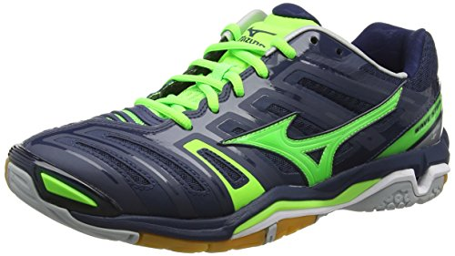 Mizuno Men Wave Stealth 4 Multisport Indoor Shoes Blue (Dressblues/Greengecko/Silver)