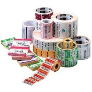"""Zebra Technologies 10010063-EA Polypro 4000D Polypropylene Label, Direct Thermal, Perforated, 2.25"""" x 1.25"""", 1"""" Core, 5"""" OD, 2000 Labels per Roll"""