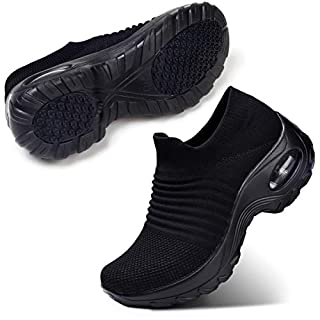 STQ Women's Slip On Walking Shoes Breathable Lightweight Mesh Casual Running Jogging Sneakers with Air Cushion Sole All Black, 6.5