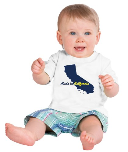 MADE IN CALIFORNIA Short Sleeve Baby T-shirt / Cute, Funny Infant Newborn CA Humor