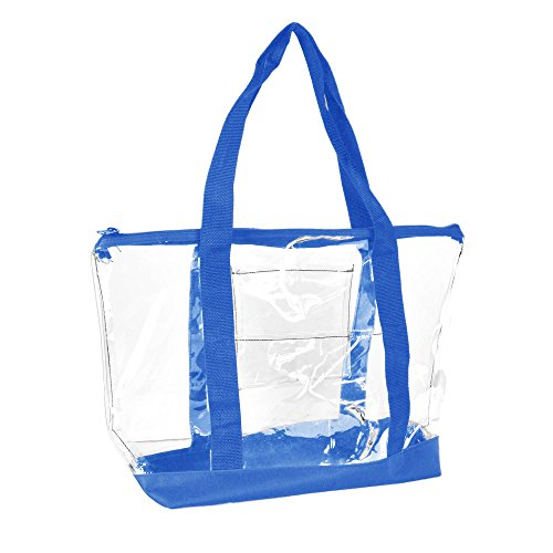 (DALIX Clear Shopping Bag Security Work Tote Shoulder Bag Womens Handbag (Royal Blue))