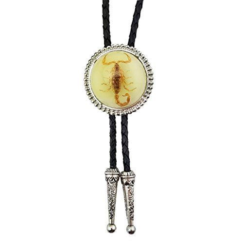 Lanxy American Cool Novelty Luminous Stone 3D Scorpion Animal Bolo Tie For Men