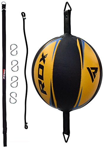 RDX Double End Speed Ball Leather Boxing Double End Speed Ball Bag MMA Double End Dodge Ball Punching Training Floor to Ceiling Rope Workout 2