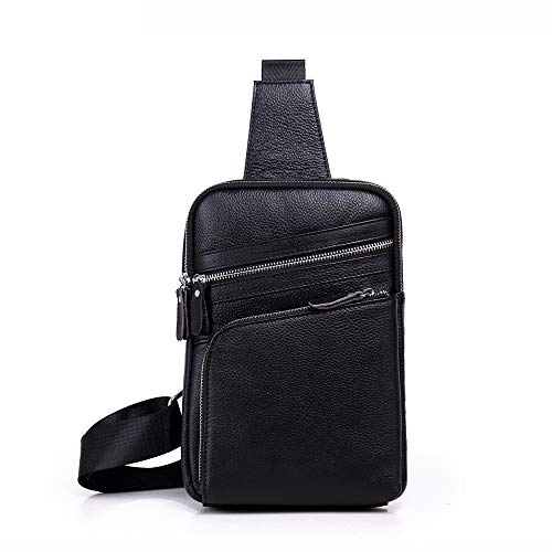 Men's Chest Optional Kids Bag Two Black Leather Casual Colors Genuine Shining Messenger pqwZ4Z