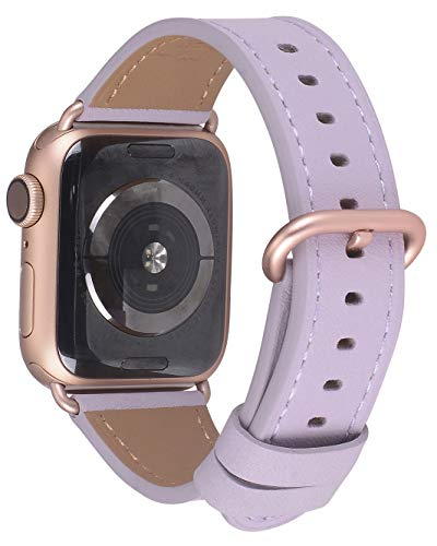 Compatible iWatch Band 38mm 40mm - JFdragon Women Lavender Genuine Leather Replacement Wrist Strap Compatible iWatch Series 4 Gold Aluminum(40mm) Series 3 Gold Aluminum(38mm) ()