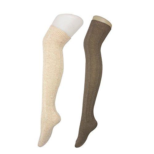 Hot Beige Sheer & Dark Brown, Women Above Knee High Thick Wool Winter Warm Crochet Footed Leg Warmer, 2 Pairs hot sale