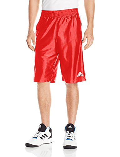 (adidas Men's Basketball Basic 4 Shorts, Scarlet/White, X-Large )