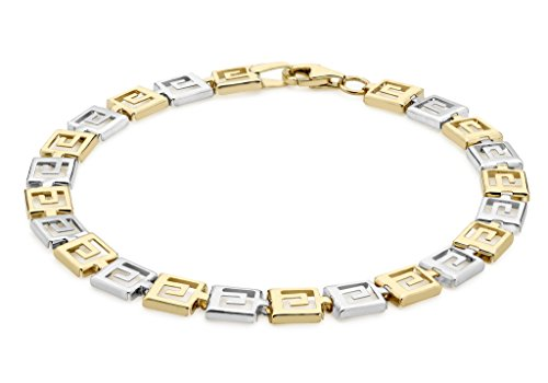 "Or bicolore 9 carats-Grecian Bracelet 19 cm/7,5 """