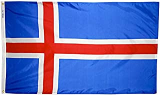 product image for Annin Flagmakers Model 193577 Iceland Flag Nylon SolarGuard NYL-Glo, 5x8 ft, 100% Made in USA to Official United Nations Design Specifications
