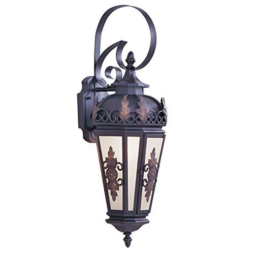Livex Lighting 2192-07 Outdoor Wall Lantern with Antique Honey Linen Glass Shades, Bronze