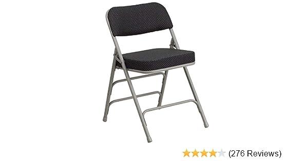 Flash Furniture HERCULES Series Premium Curved Triple Braced & Double Hinged Black Pin-Dot Fabric Metal Folding Chair