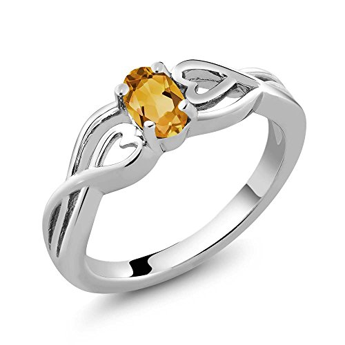 0.40 Ct Oval 6X4MM Natural Genuine Citrine Gemstone Birthstone 925 Silver Women's Ring (Available in size 5, 6, 7, 8, 9)