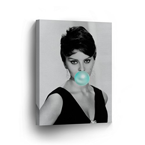 SmileArtDesign Sophia Loren Teal Blue Bubble Gum Chewing Gum Wall Art Canvas Print Pretty Iconic Pop Art Home Decor Artwork Gallery Stretched and Ready to Hang -%100 Handmade in The USA - 12x8