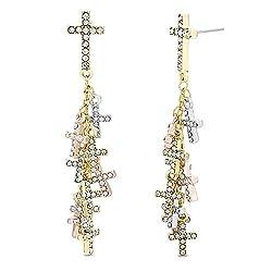 Women's Rhinestone Long Cross Dangle Earrings