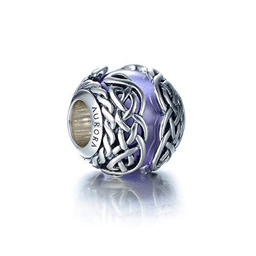 Purple Murano Glass & Sterling Silver Irish Celtic Mystic Knot Charm S925, Irish Celtic Eternal Love Knot Silver Charm Bead, Irish Violet Lilac pendant Charm Jewelry, Pandora compatible - Violet Pandora