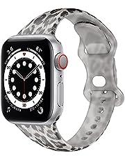 Dumgeo Armband compatibel met Apple Watch armband 38 mm 42 mm 40 mm 44 mm, zachte siliconen reserveband met bloemenpatroon is geschikt voor iWatch Series 7/6/5/4/3/2/1 SE