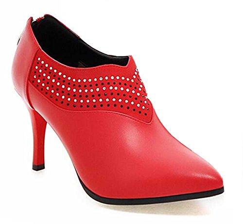 Chfso Kvinna Trendig Stilett Rhinestone Fast Spetsig Tå Dragkedja Hög Klack Boots Röda