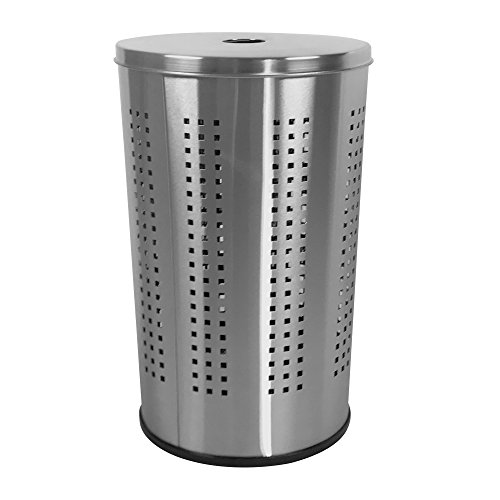 Brushed Stainless Steel Laundry Bin & Hamper | 46L Ventilated Stainless Steel Clothes Basket With Polished Lid | Life Time Warranty| by Krugg