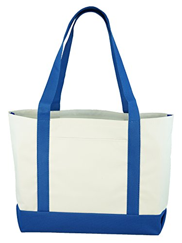 Daily Tote (White/Blue)