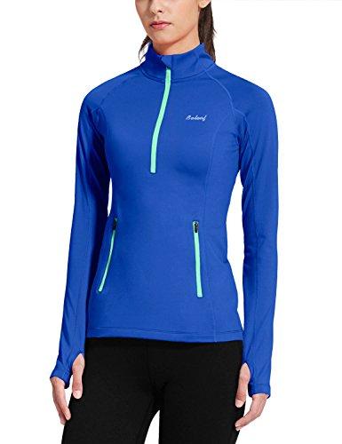 BALEAF Women's Thermal Fleece Half Zip Thumbholes Long Sleeve Running Top Blue Size M