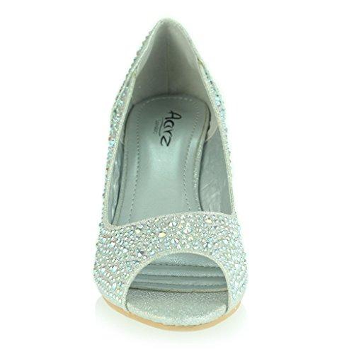 Mujer Señoras Peeptoe Diamante Embellecido Tacón de Cuña Noche Fiesta Boda Prom Nupcial Sandalias Zapatos Talla Plata