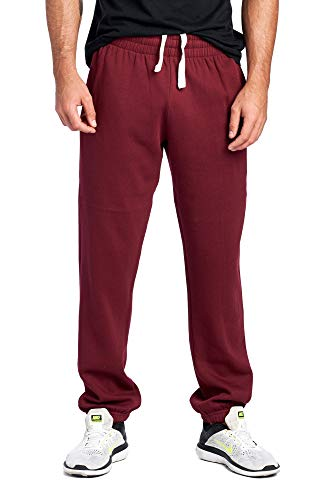 ProGo Men's Closed Bottom Casual Regular Fit Fleece Sweatpants with Elastic Waist (Burgundy, Large)