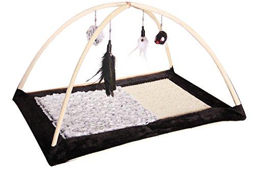 BPS (R) Juguete Rascador Con Plumas, Pompón y Ratón para Gatos, Negro con Gris, Scraper para Gato, Animales Domésticos.